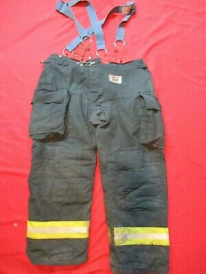 Morning Pride Fire Fighter Turnout Pants 44 X 32 Black Bunker Gear Suspenders
