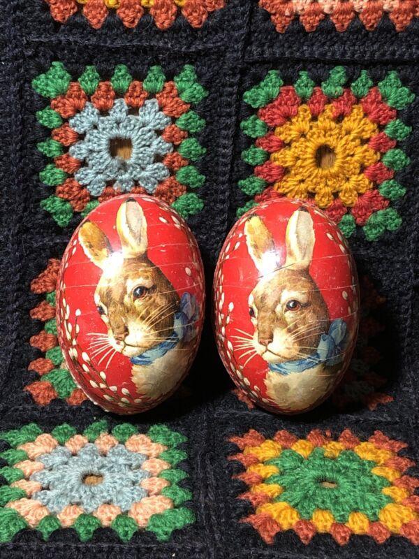 Pair Vintage Germany Paper Mache Easter Eggs Rabbit Floral Design