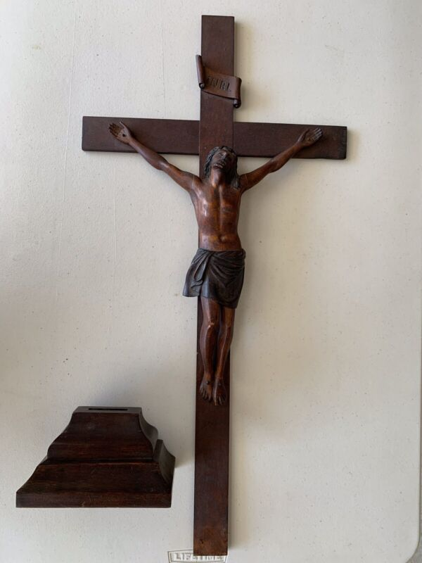 Antique Wood Religious (Crucifix) Wooden hand carved figure and Alter cross.