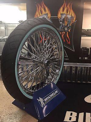 "21"" x 48 Fat King Spoke Front Wheel Pkg. Shinko Whitewall Tire Chrome Dual Disc"