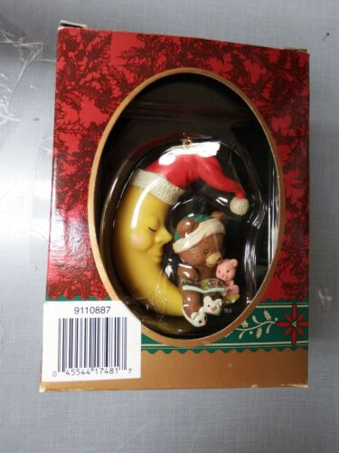 Christmas traditions bear reading book on moon ornament ornaments-03w