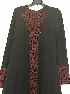 Long Sleeves Black And Burgundy Dress/abaya, With Black Studs,medium, New