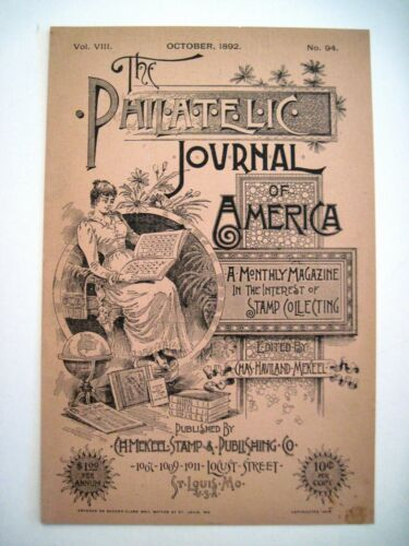 "Fantastic 1887 Victorian Trade Card ""The Philatelic Journal Of America"" Stamps*"