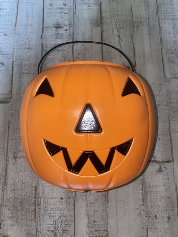 Vintage General Foam Plastics Jack O Lantern Pumpkin Halloween Bucket Pail USA
