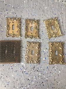 Vintage brass light switch covers