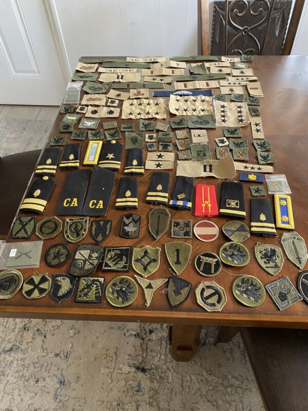Lot of Over 400 Military Patches Pins Shoulder Boards Epaulettes
