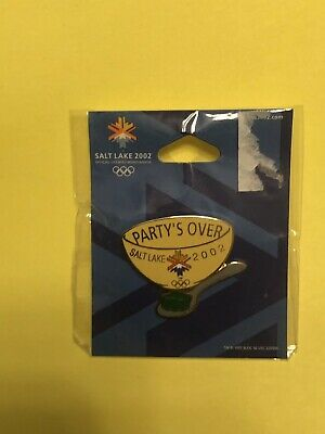 2002 Salt Lake City Official Olympic Games Party's Over Badge Pin NEW - Party City Salt Lake City