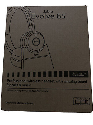 Jabra Evolve 65 UC Stereo Wireless Bluetooth Headset/Music Headphones for sale  Shipping to India