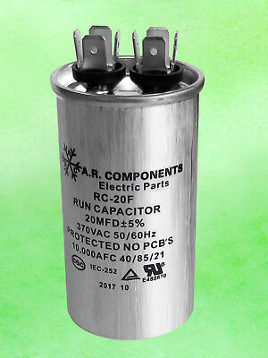 Run Capacitor 20 Mfd 370 Vac Round Can. Ul Certified. Rc-20f