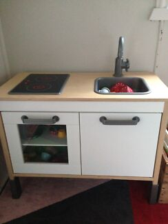 Ikea play kitchen with play food + pots