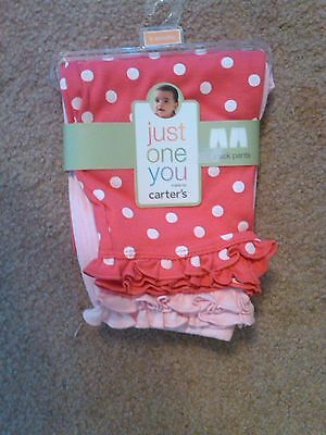 NWT 2 PAIR OF CARTER'S INFANT GIRLS RUFFLED LONG PANTS SIZE 9 MONTHS PINK