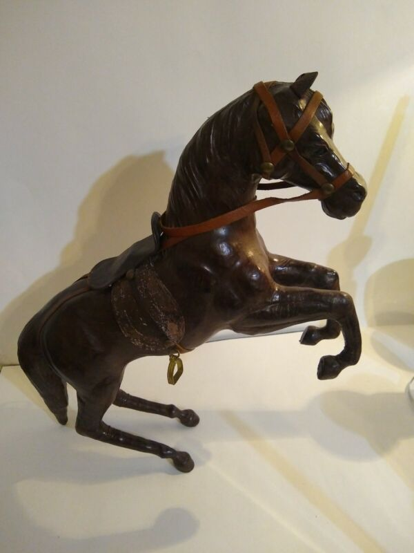 """Vintage Leather Horse 16"""" Tall"""