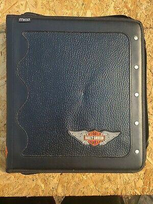Vintage Mead Harley Davidson Motorcycles Black Zippered Portfolio