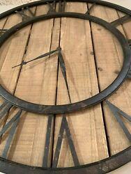 RESTORATION INSPIRED XXL 30 RUSTIC WOOD WALL CLOCK METAL HARDWARE UTTERMOST