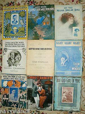 Lot of 9 Large Format Vintage Sheet Music  c.1911-1917 Art Deco