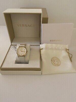 Versace V Circle VE8100319 Women's 38mm Gold tone S/Steel Swiss Watch $695 *NWT*