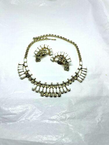Vintage Milk Glass Rhinestone Beaded Necklace & Earrings Set