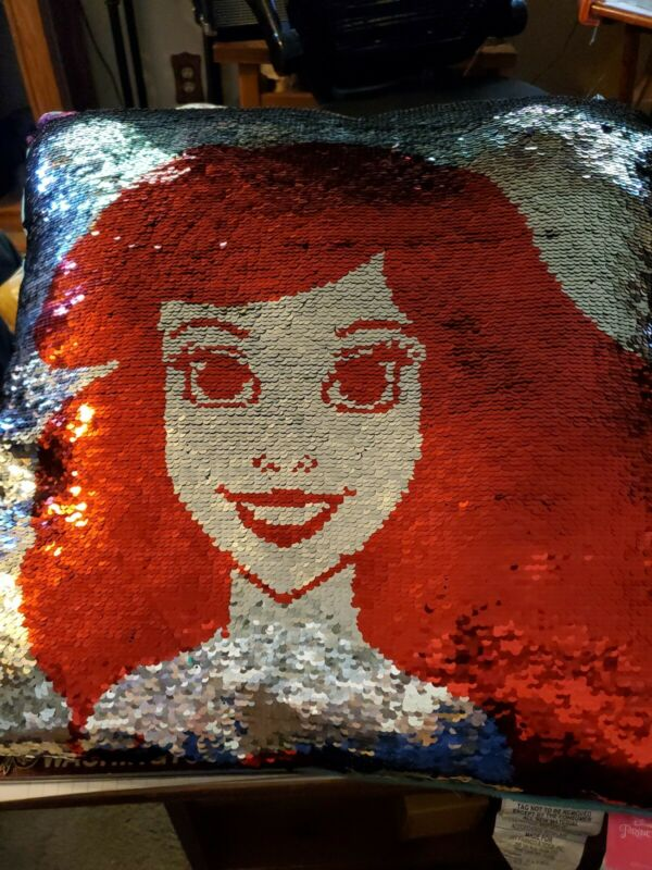 Disney Princess Ariel Little Mermaid 2-In-1 Reversible Sequin Pillow 20x20