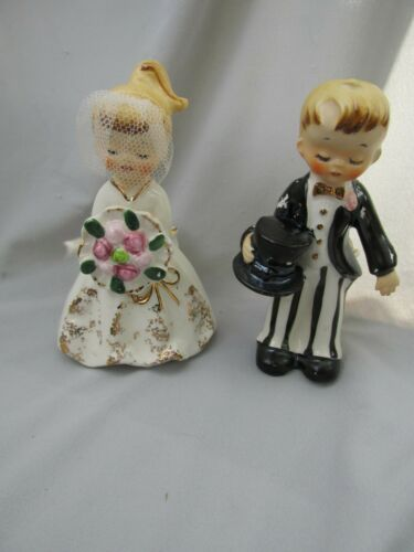 Vintage 1950s Holt Howard Japan Ceramic Bride & Groom Candle Holders