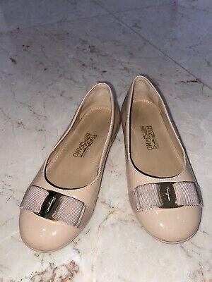 Salvatore Ferragamo Beige Patent Leather Flat Ballerina Girl Shoes 29 US 12 Used