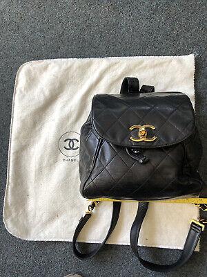 CHANEL Matelasse Black W/half Chain Backpack Vintage