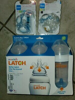 Munchkin Latch BPA Free Bottle 3 Count 4 Oz stage 1&2 Nipples & 0+6 mam pacifier