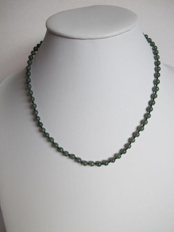 100% Natural type A green jadeite jade beads necklace C00278
