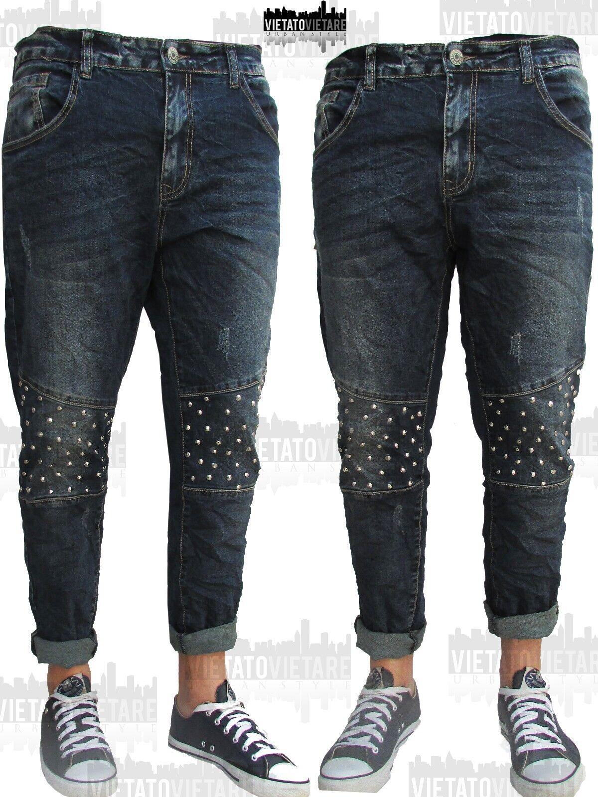 Menswear Jeans Pantalone Borchie Uomo Stretch RegularFit Denim Capri Gamba Larga