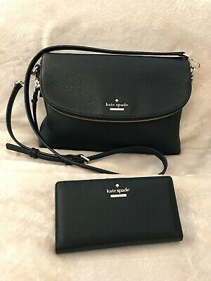 Kate Spade NY Black Leather Polly Large Crossbody Bag & Cameron St Stacey Purse