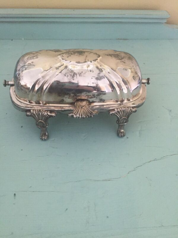 Antique Bristol Silver Plated Roll Top Hinged Lid Footed Covered Butter Dish