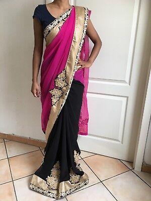 Sari Saree Bollywood Kleid Salwar Kameez Anarkali Indisch Kostüm Schwarz Neu