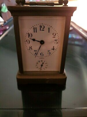ANTIQUE FRENCH COUAILLET FRERES BRASS 8 DAY CARRIAGE ALARM MANTEL CLOCK,RUNS