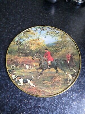 Vintage Round Hunter Picture Behind Glass 12 inch diameter excellent quality
