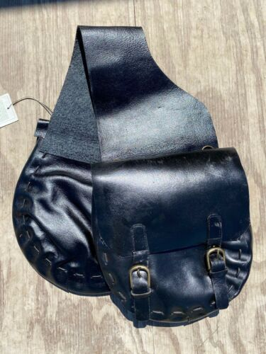 East West Leather by IGT black saddle bags w/brass hardware