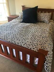 Queen bedroom suite wooden includes two bedside tables and tall boy