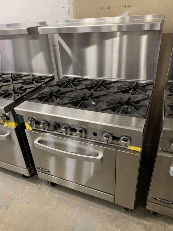 "6 Burner Gas Range Heavy Duty 36"" Commercial Restaurant Stove Gas Double Oven"