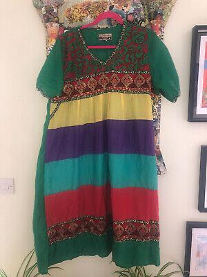Vintage Indian cotton midi dress prairie peasant midi folk Festival Hippie 16 18