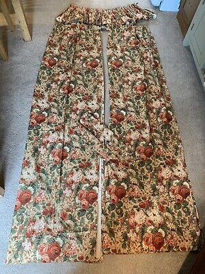 Vintage Sanderson Rose And Peony Curtains With Pelmet & Tiebacks - 122 X 215cm