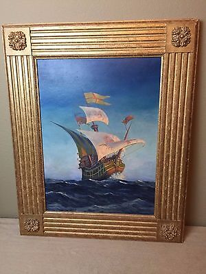 Original Sailing Ship Antique Oil Painting Framed and Signed