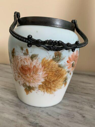 VINTAGE SATIN GLASS BISCUIT CRACKER JAR NO LID
