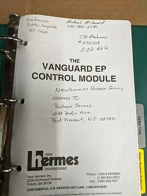 New Hermes Vanguard Ep Module Engraver Controller Owners Manuals Parts List
