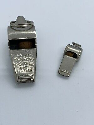 Vintage Acme Thunderer England Chrome Finish & Japan Whistle's With Cork Balls