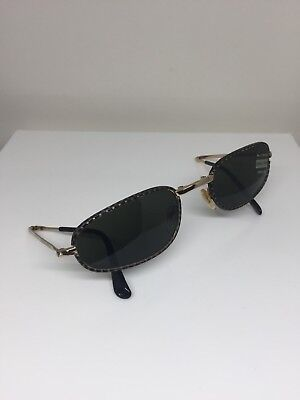 Vintage Giorgio Armani Sunglasses GA 624 C. 812 Black Leather & Gold 54mm (Armani Folding Sunglasses)
