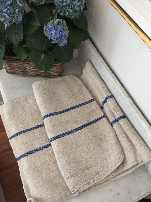 Antique French Blue Striped Linen Grain Sack Late 1800s/Early 1900s