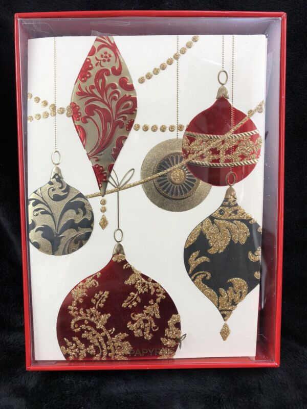 Papyrus Glittery Vintage Style Ornaments Boxed Holiday Christmas Cards