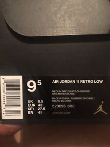 AIR JORDAN COOL GREY 11s LOWS BNIB