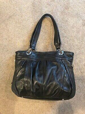 B Makowsky Black Leather Shoulder Strap Large Hobo Handbag