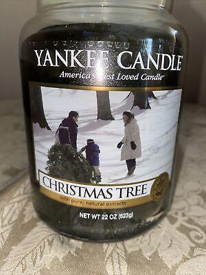 Yankee Candle Christmas Tree 22 oz Large Jar Holiday Rare Yellow Label