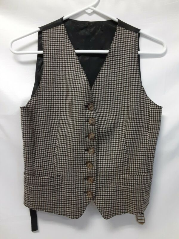 DOLCE & GABBANA Boys Waistcoat Vest Size EU 42 - US 32 - Brown Houndstooth Spain