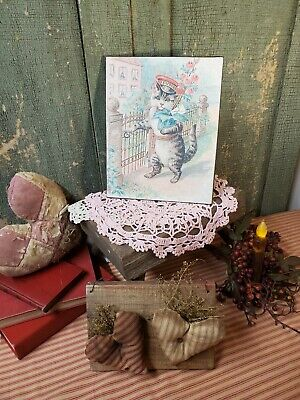 ADORABLE VICTORIAN ANTIQUE VINTAGE STYLE VALENTINE CAT MAILMAN ROSES GIFT SIGN